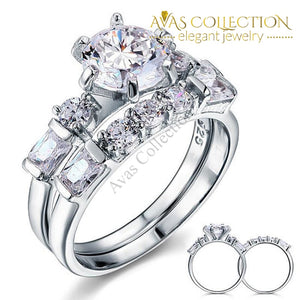 2 Ct Solid Sterling 925 Silver 2-Pcs  Vintage Style Wedding Ring Set/ High Polished - Avas Collection