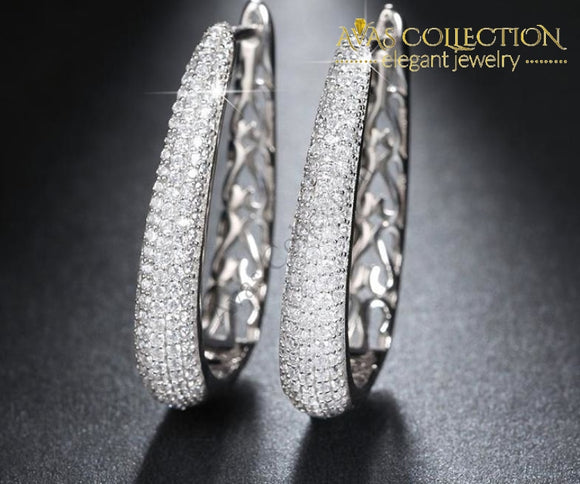 Luxury Silver Color Hoop Earrings