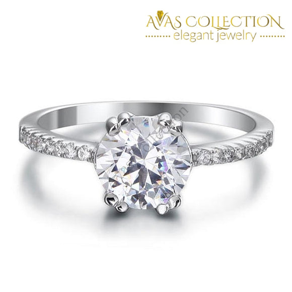 2 Carat Sterling Solid 925 Silver Engagement Ring / High Polished - Avas Collection