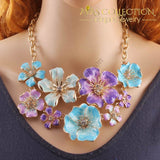 Chunky Crystal Flower Necklace & Earrings Jewelry Sets