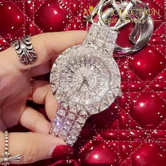 Silver Luxury Steel Full Rhinestone Watch Womens Watches
