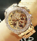 Crystal Diamond Watch for Women Gold/Steel Strip Rose Gold - Avas Collection