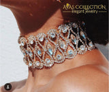 Luxury Hollow Flower Crystal Rhinestone Choker Collar - Avas Collection