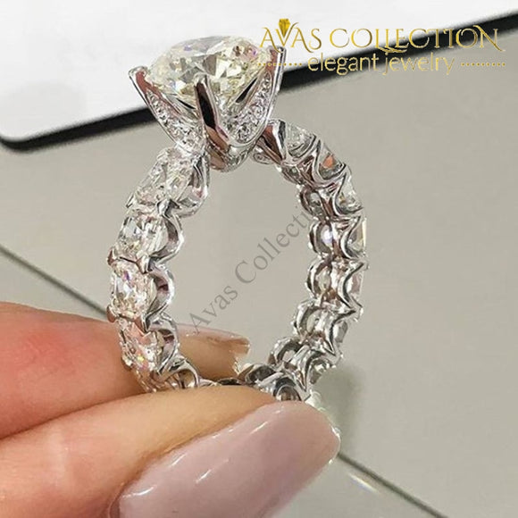 New Luxury Engagement Ring 18K White Gold /925 Solid Silver Rings