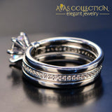 New Arrival Sparkling   Round Shape  3 In 1 Wedding Ring Set - Avas Collection