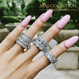 Solid 925 sterling silver   & White Gold Filled eternity Ring for Women - Avas Collection