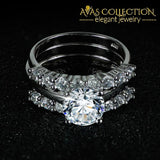 Solid L 925 Sterling Silver 3 Pieces Wedding Ring Set High Quality Engagement Rings
