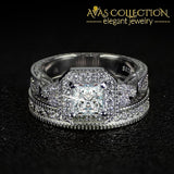 New Arrivals Solid 925 Sterling Silver Wedding Ring Set Simulated Diamonds Rings