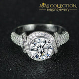 925 Sterling Silver Luxury Twisted Engagement Ring / Simulated Diamonds Rings