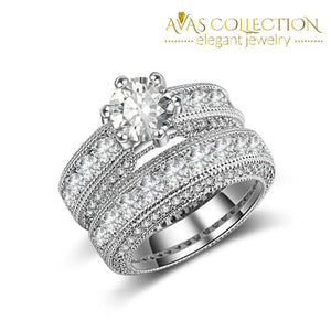 New Arrival 18K White Gold / 925 Sterling Silver Wedding Ring Set Simulated Diamonds Bands