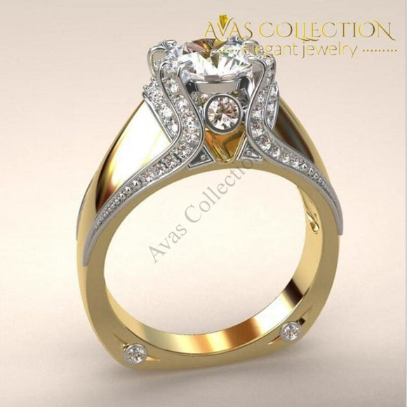 Luxury Jewelry 925 Silver&gold Fiill Round Cut Engagement Ring Rings