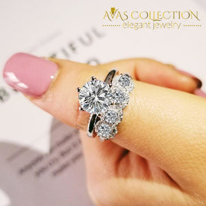 2019 New Luxury Round 925 Sterling Silver Wedding Ring Set R5139 Bands
