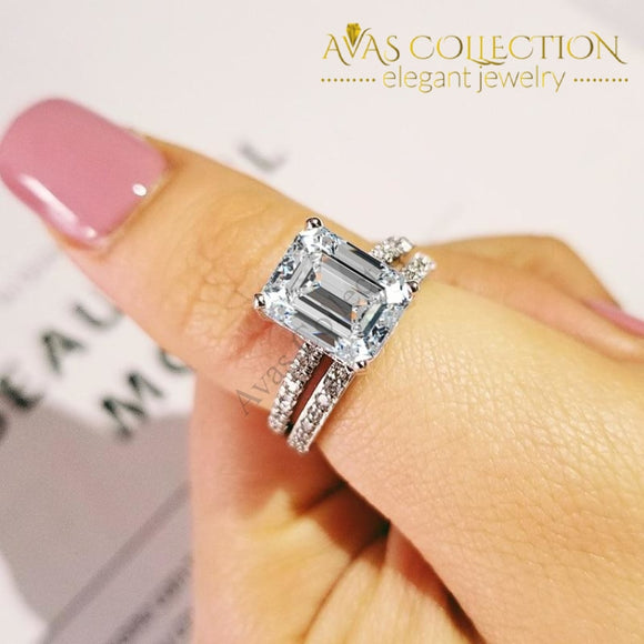2019 New Trendy Emerald Original 925 Set R5149 Wedding Bands