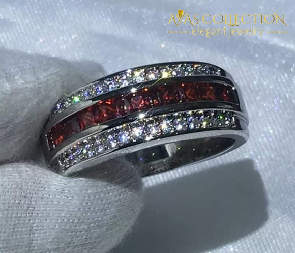 18K White Gold Filled Red Mens Ring