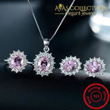 Pink Color Solid 925 Silver Filled Jewelry Set Sets