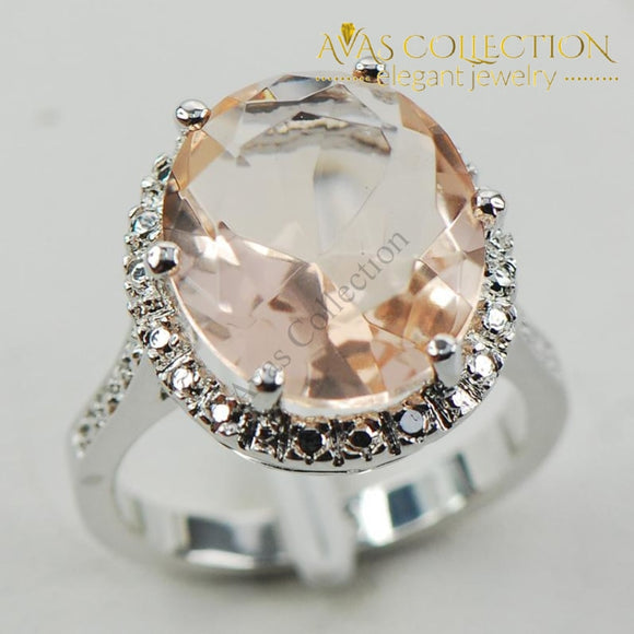 Simulated Morganite Fashion Silver Ring - Avas Collection