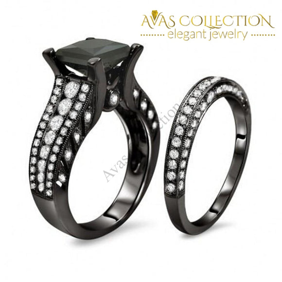 Princess Cut-10Kt Black Gold Filled 2-In-1 Rings