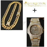 Iced Out Miami Chain Set Gold-Color / Watch Pendant Necklaces