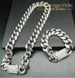 Iced Out Miami Chain Set Light Yellow Color / Watch Pendant Necklaces