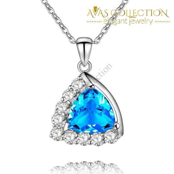 4 colors / Blue /Green/ White/ 925 Solid Silver Pendant Necklace - Avas Collection
