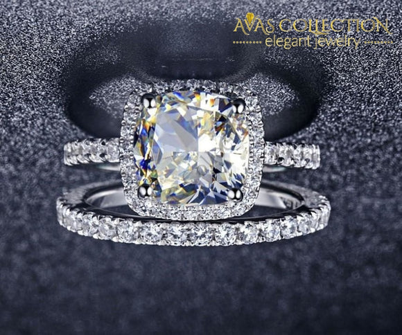 3.55Ct Cushion Cut Synthetic Diamonds Wedding Set - Avas Collection