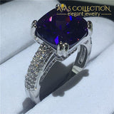 3 Colors Handmade Cushion Cut 4Ct 6 / Purple Engagement Rings