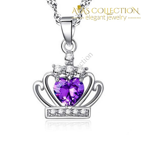 Purple / White Crown Cz Pendant Necklace 925 Sterling Silver Necklaces