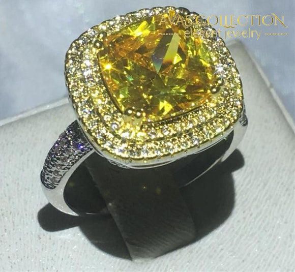 Cushion Cut Ring - Yellow Stone Rings
