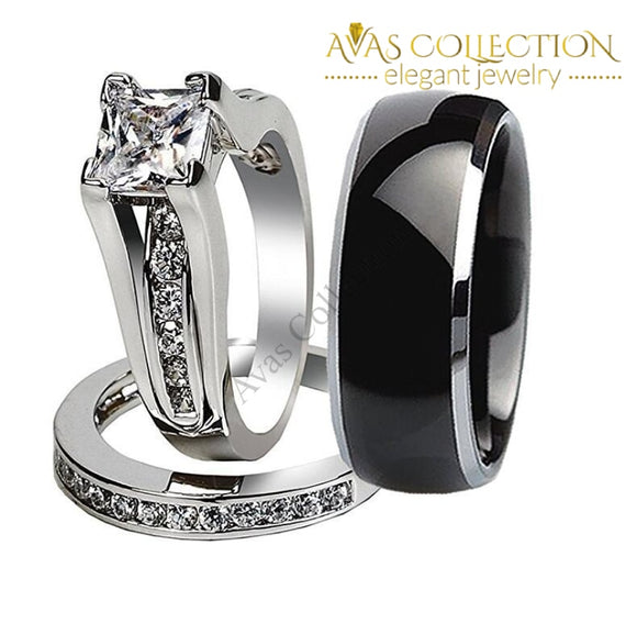 His & Hers 10KT White Gold Filled Princess Cut/ Men Stainless Steel - Avas Collection
