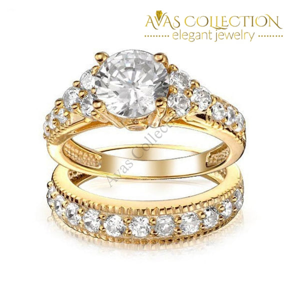 2 Carat 18k Yellow Gold Filled Wedding Set/Double Ring - Avas Collection