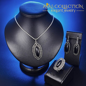 Black Resin Stone Jewelry 3 Pcs Set Sets