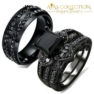 Dark Night Lovers Set Rings