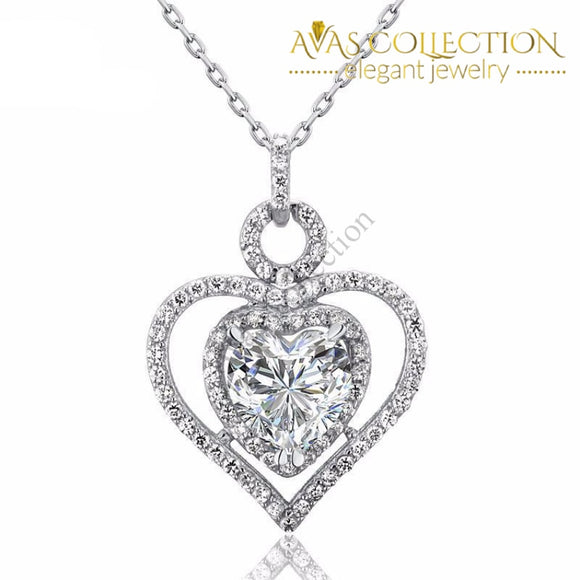 3 Carat Heart Pendant Necklace Pendants