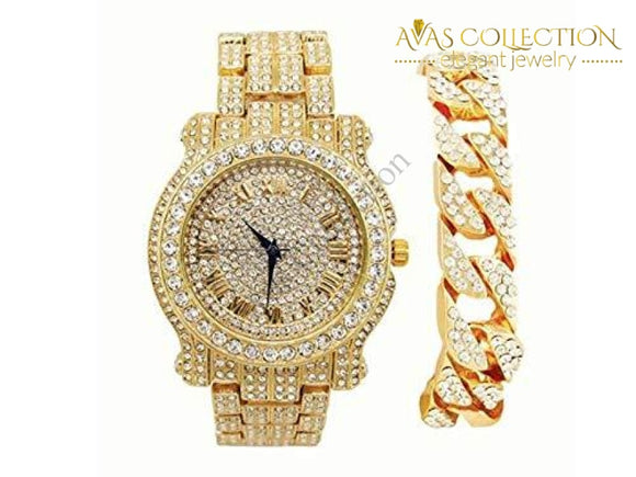 Bling-Ed Out Round Luxury Mens Watch W/bling-Ed Cuban Bracelet - L0504B
