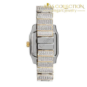 Mens Hip Hop Bling-Ed Out Huge Square Dial Watch With Simulated Diamond Crystals - Two Tone: Watches