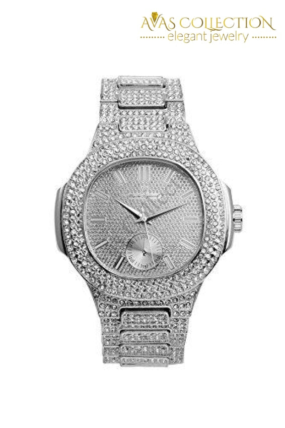Bling-Ed Out Oblong Case Metal Mens Watch - 8475 Silver/silver: