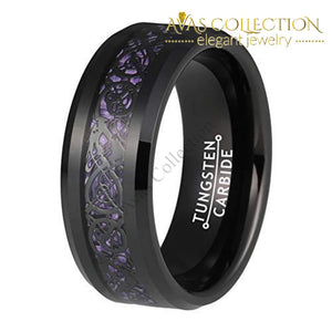 6Mm 8Mm Black Tungsten Rings For Men Women Wedding Bands Celtic Dragon Purple Carbon Fiber Inlay