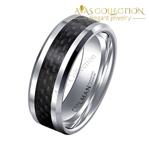 Tungsten Wedding Rings For Men Black Carbon Fiber Inlaid Mens 8Mm Comfort Fit Ring 8.5