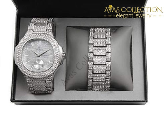 Bling-Ed Out Oblong Case Metal Mens Watch W/matching Bracelet Gift Set - 8475B Silver: Watches
