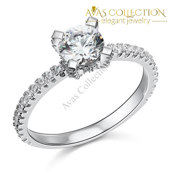 1 Carat Sterling Solid 925 Silver Engagement Ring / High Polished - Avas Collection