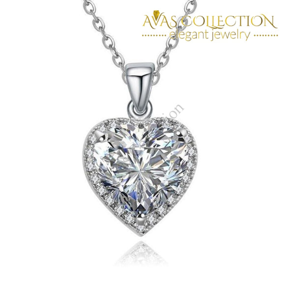 18k White Gold Filled Heart Pendant Necklace - Avas Collection