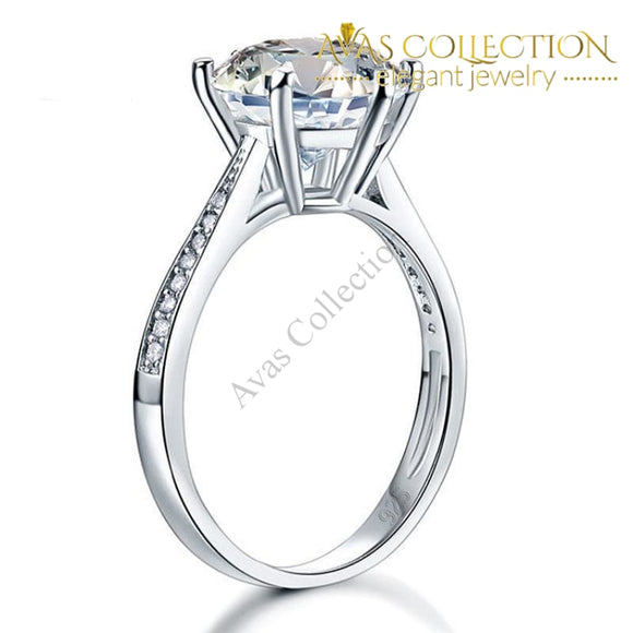 3 ct  Engagement Ring  Solid 925 Sterling Silver/ High Polished - Avas Collection
