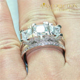 Three-Stone Square Engagement Set 5 / Rose Gold Rings