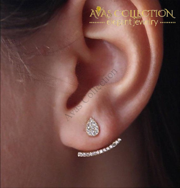 Double Sided Pave Ear Cuff Stud Earrings