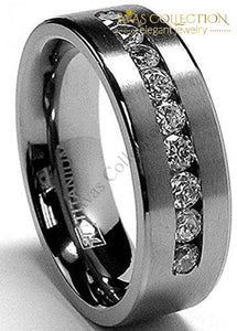 8 Mm Mens Titanium Ring Wedding Band With 9 Large Channel Setting
