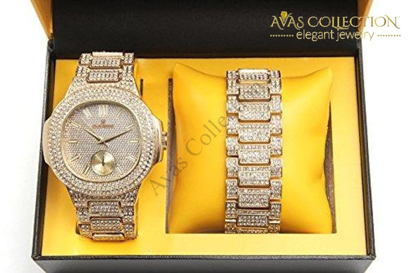 Bling-Ed Out Oblong Case Metal Mens Watch W/matching Bracelet Gift Set - 8475B Gold/gold: