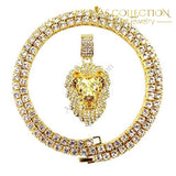 Bling Empire Mens Hip Hop Iced Out 14K Gold Artificial Diamond Lion Head Pendant Cz Tennis Chain