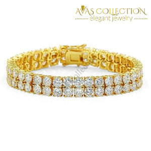 2 Rows Aaa Gold Silver Iced Out Tennis Bling Lab Simulated Diamond Bracelet 8 (Gold): Rose 7