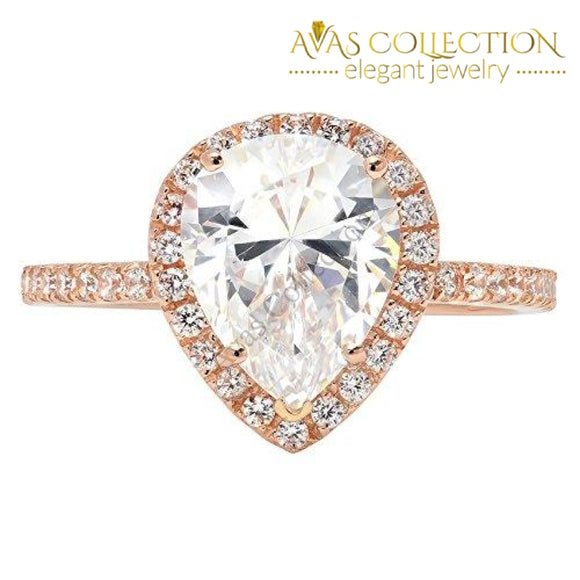 2.35Ct Brilliant Pear Cut Halo Wedding Anniversary Engagement Statement Bridal Ring 14K Rose Gold