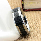 Tungsten Wedding Rings For Men Black Carbon Fiber Inlaid Mens 8Mm Comfort Fit Ring